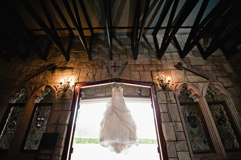 wedding dress in castle
