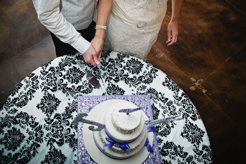purple demask wedding cake