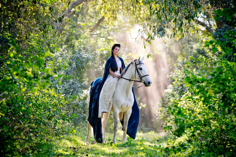 Girl with grey horse