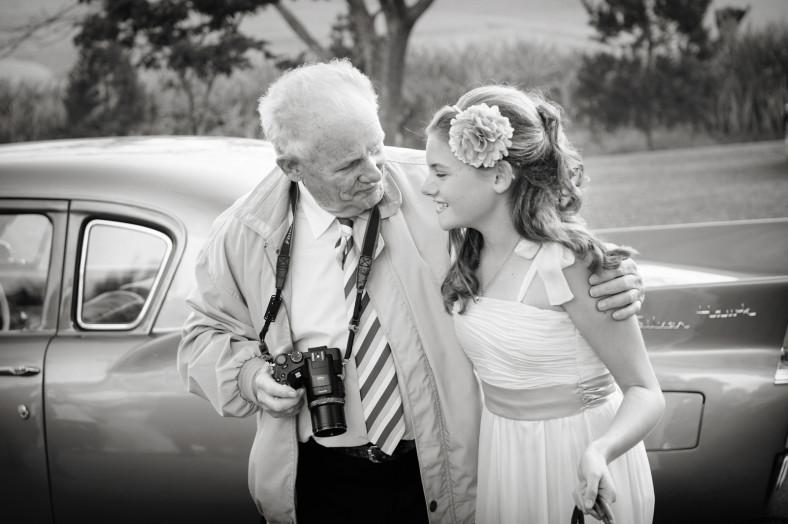 grandpa and flower girl