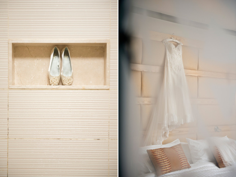 Brides shoes and dress