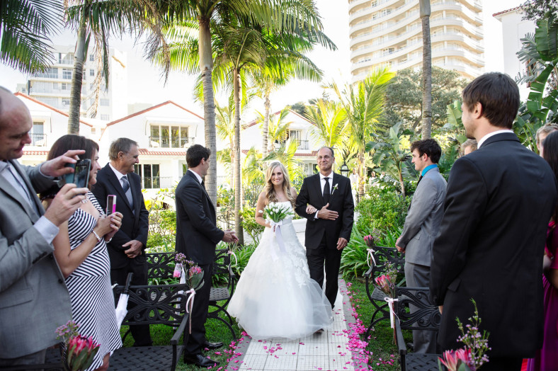 Ceremony area at Bride getting into dress Wedding at the Oyster Box Hotel Durban South Africa