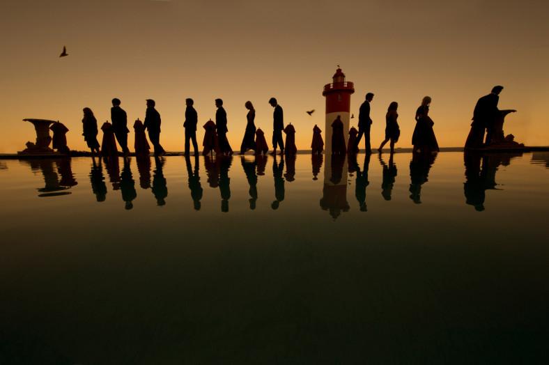 lighthouse silhouette wedding