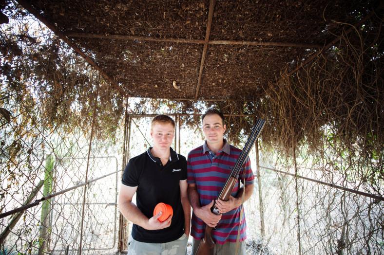 2 Men clay pigeon shooting