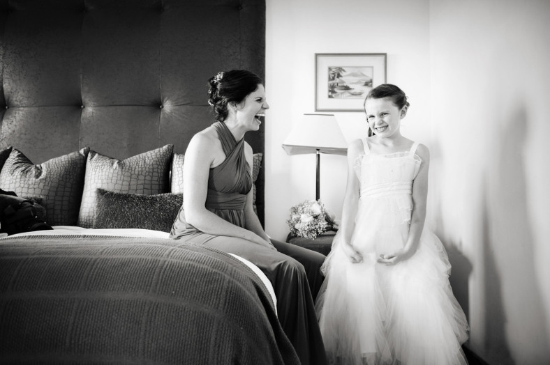 bridesmaid and flower girl
