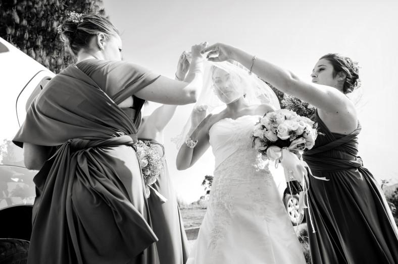 bride pulls over veil