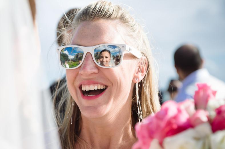 bride in sunglasses