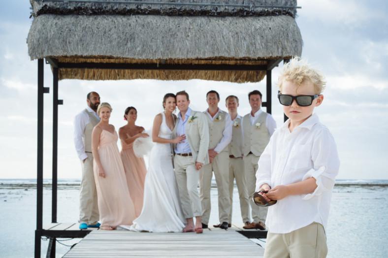 Bridal party on Mauritius Beach fun photo