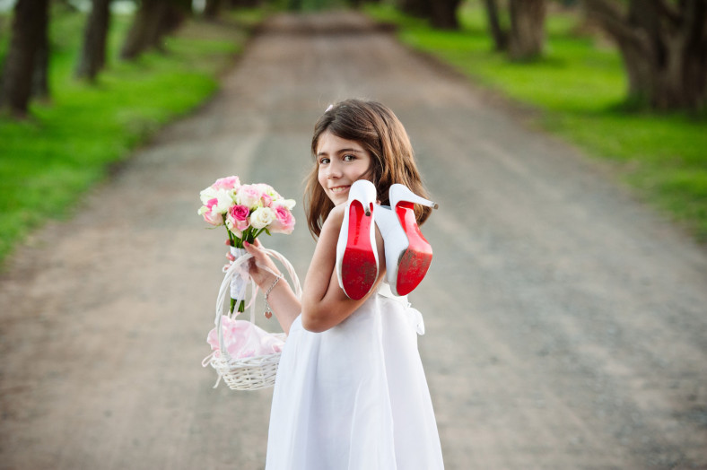 flower girl with red heels