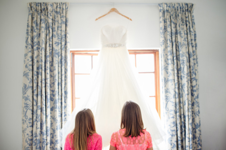 girls with wedding dress