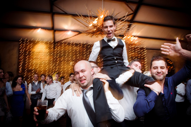 groom on mens shoulders