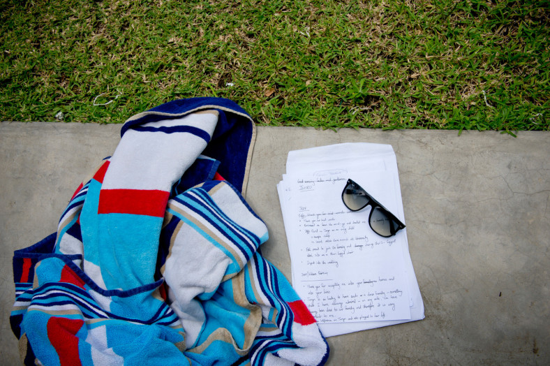 towel and sunglasses