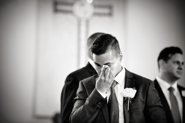 crying groom