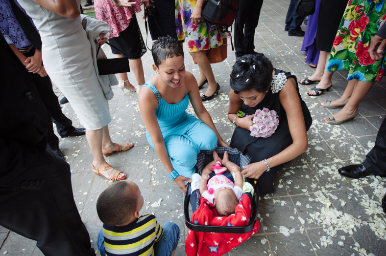 baby in confetti