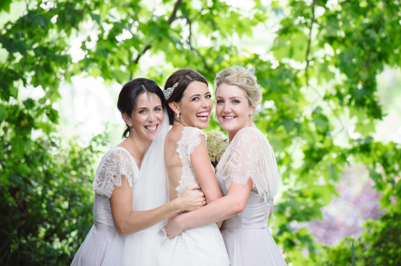 smiling bride and friends