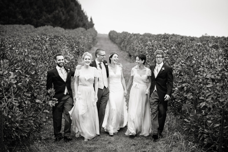 bridal party ina field