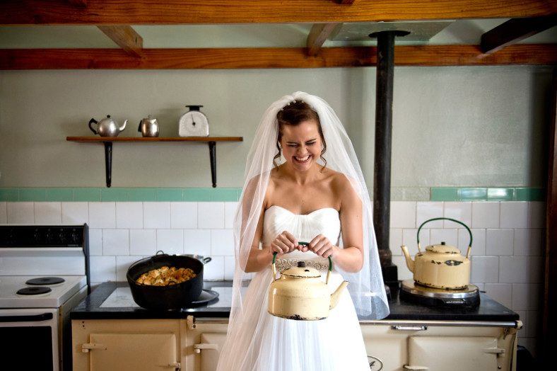 bride with tea pot