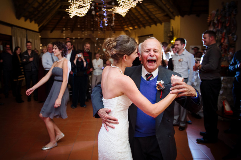bride and grandfather dancing
