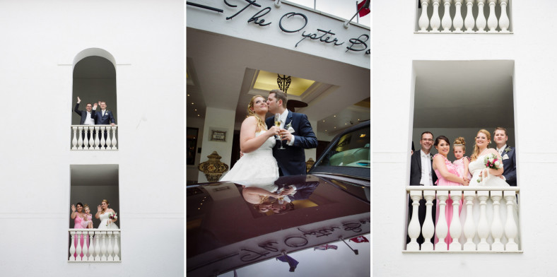the oyster box hotel wedding photography couple with car