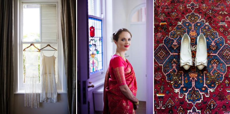 Hindu Christian Wedding Documentary Wedding Photographer Bride in Sari