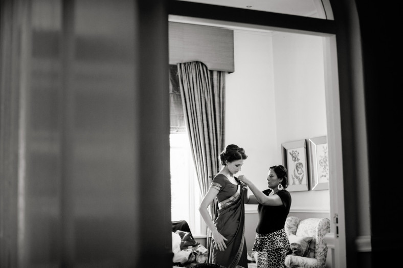 Hindu Christian Wedding Documentary Wedding Photographer Bridesmaids in Saris