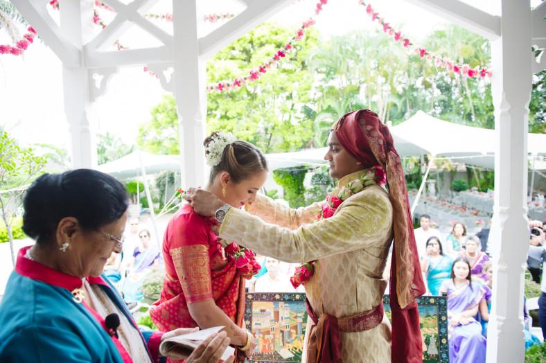 Hindu Christian Wedding Documentary Wedding Photographer Garlands Ceremony