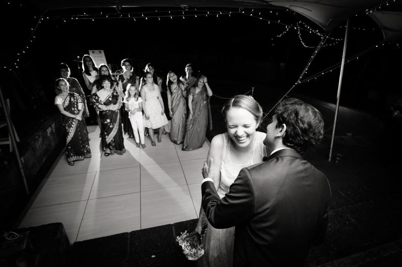 Hindu Christian Wedding Documentary Wedding Photographer Reception Bouquet Toss