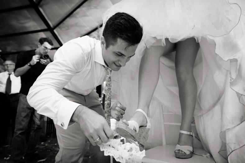 Netherwood Greek Documentary Wedding Photography Reception Garter