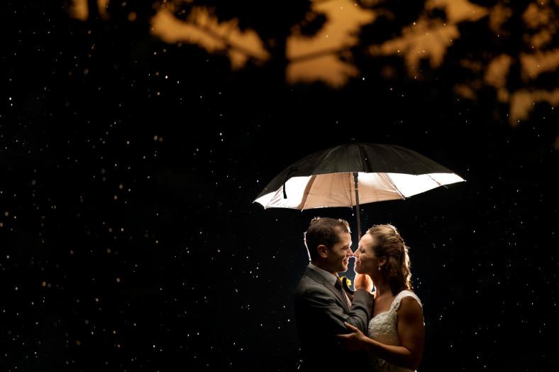 Wedding Couple with umbrella