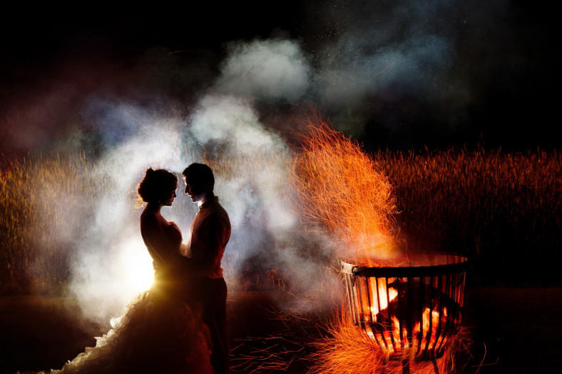 Bride and Groom with bonfire