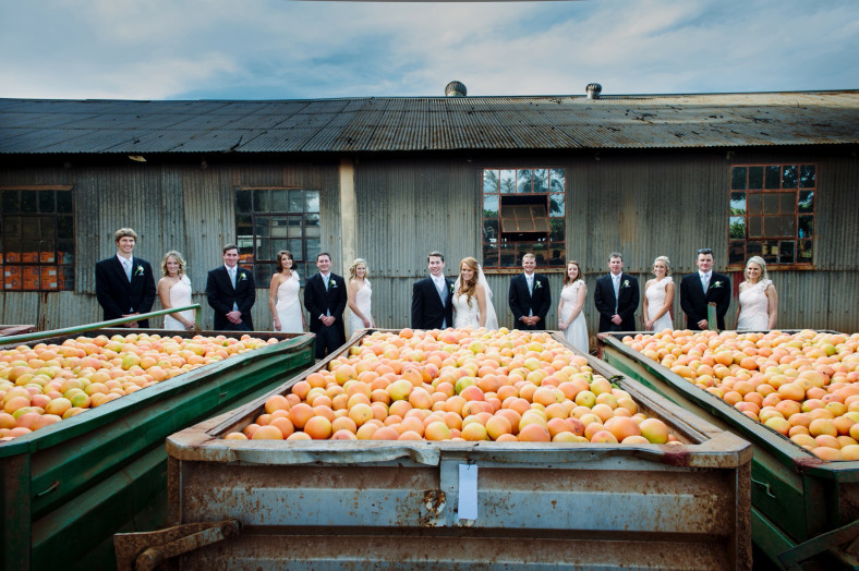 Bridal party with piles of fruit