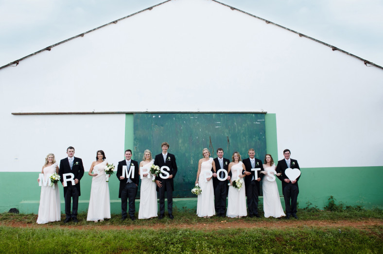 Bridal party with Bride and Groom's names