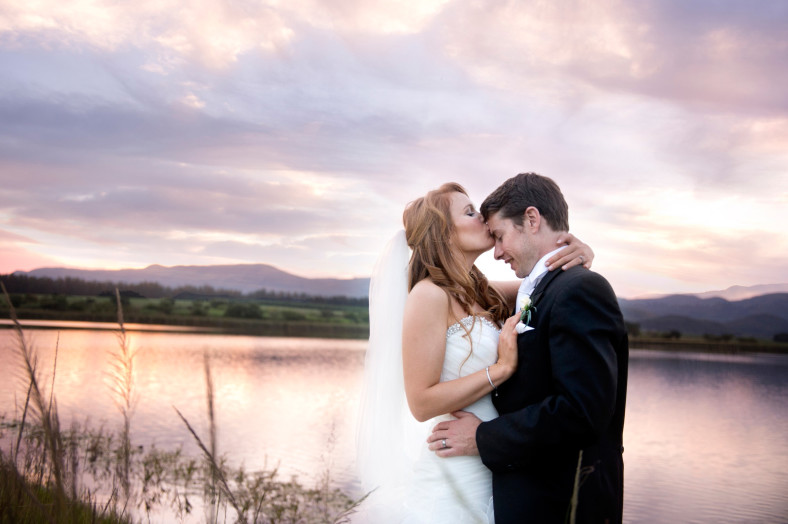 Bride and Groom sunset pic with view of lake