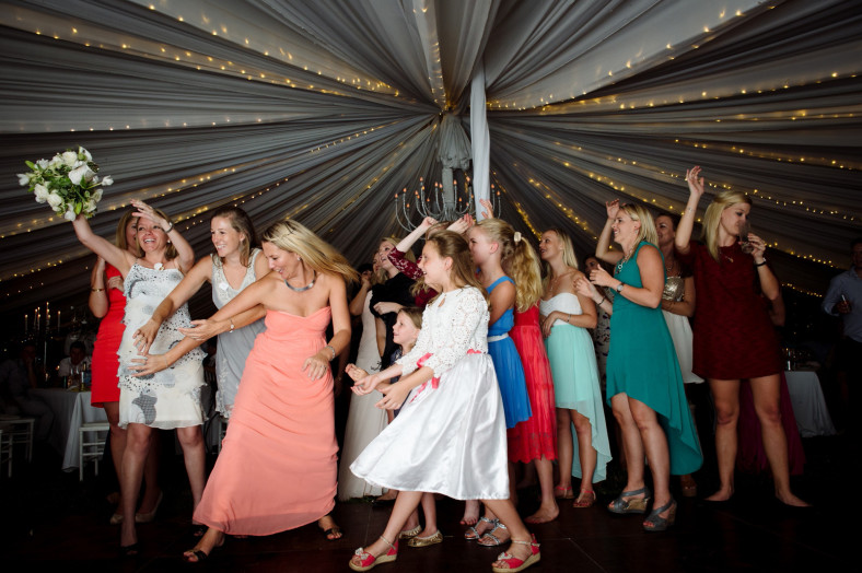 Bouquet toss at wedding