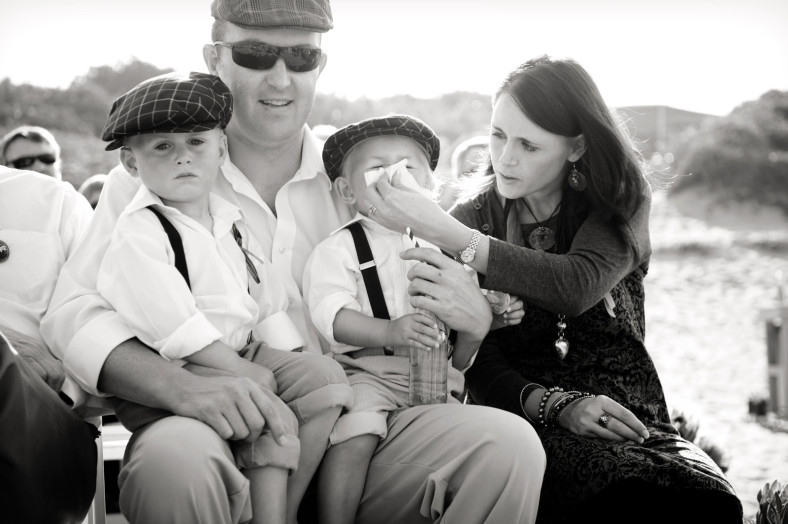 cute family at beach wedding