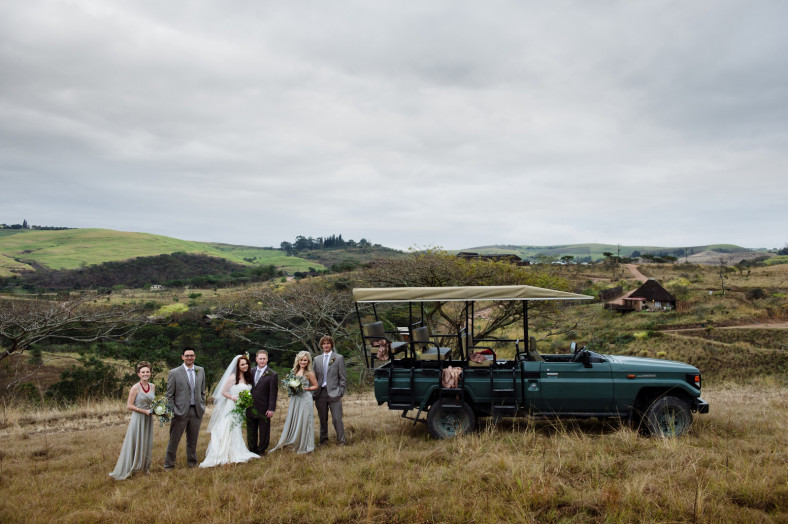 bridal party on game drive