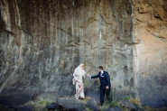 bride and groom in a riverbed