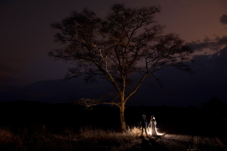 Bride and groom under African tree