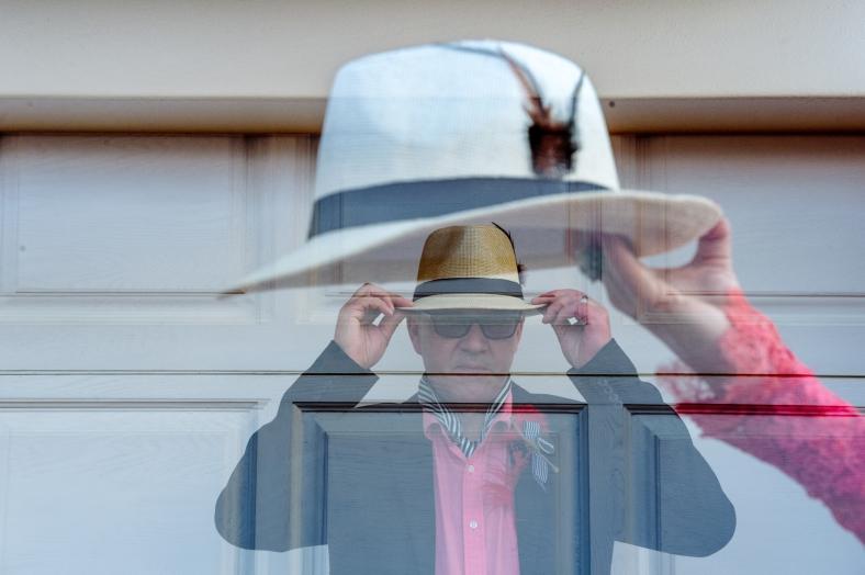 Groom hat double exposure