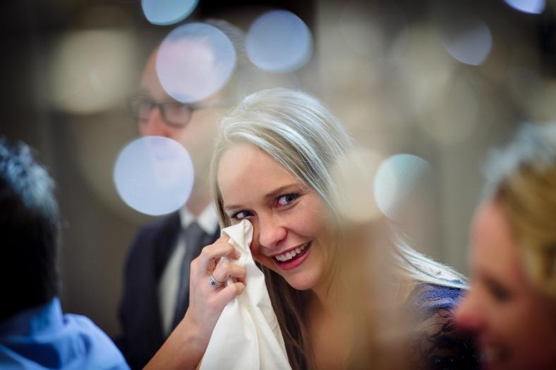 Woman crying of joy