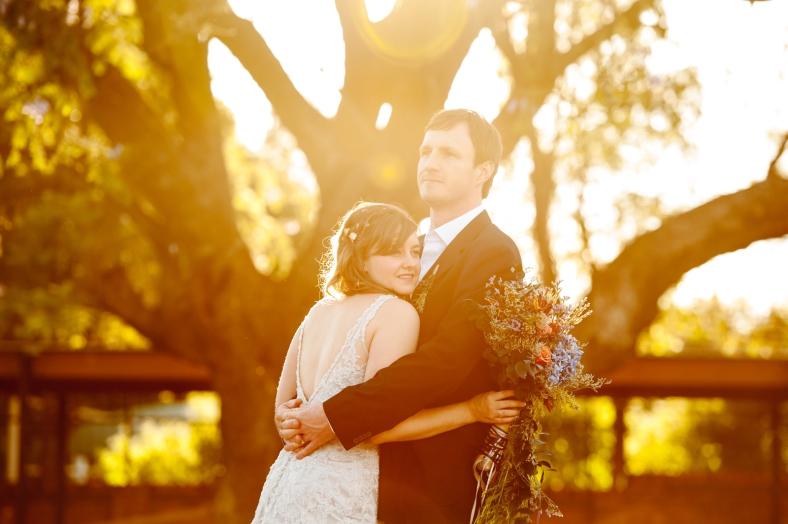Bride and Groom jacaranda tree