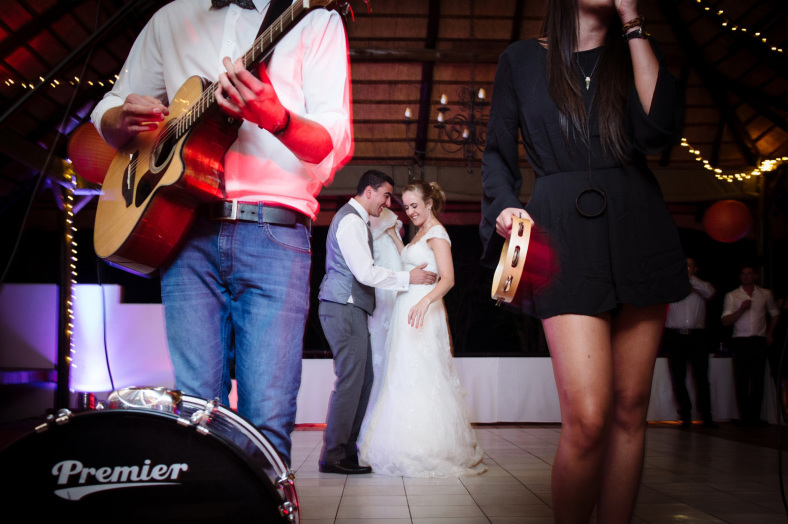 Bride and Groom with band