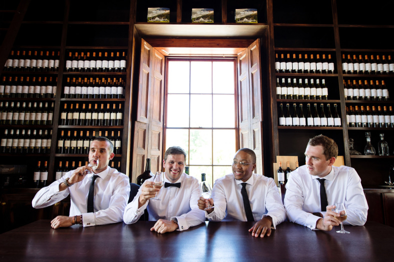 Men drinking wine