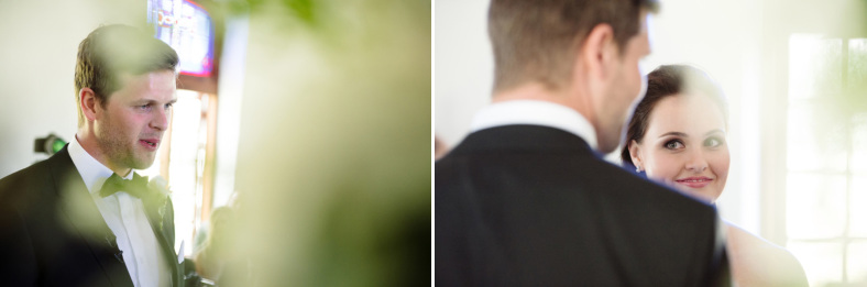 Bride and Groom through leaves