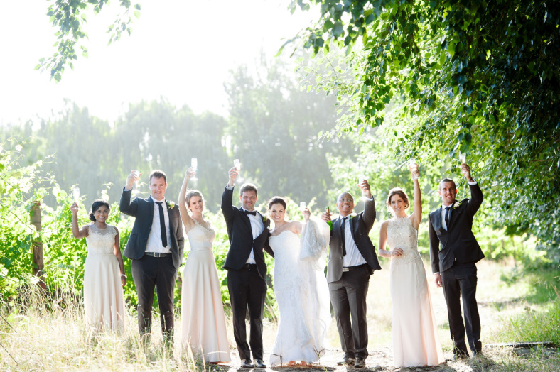 Bridal party in vineyard