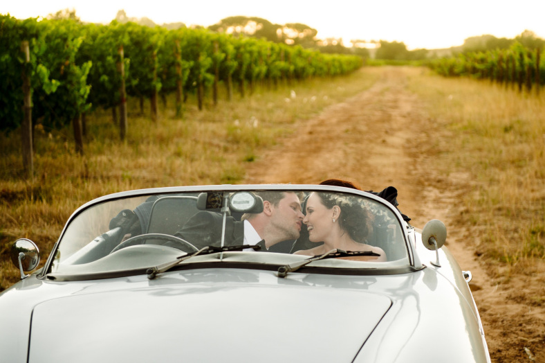 Bride and Groom in Porsche