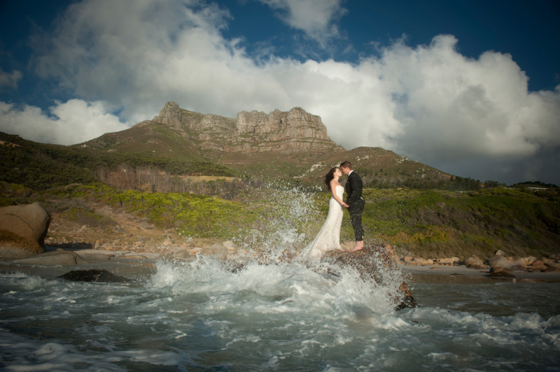Bride and Groom in Cape Town ocean