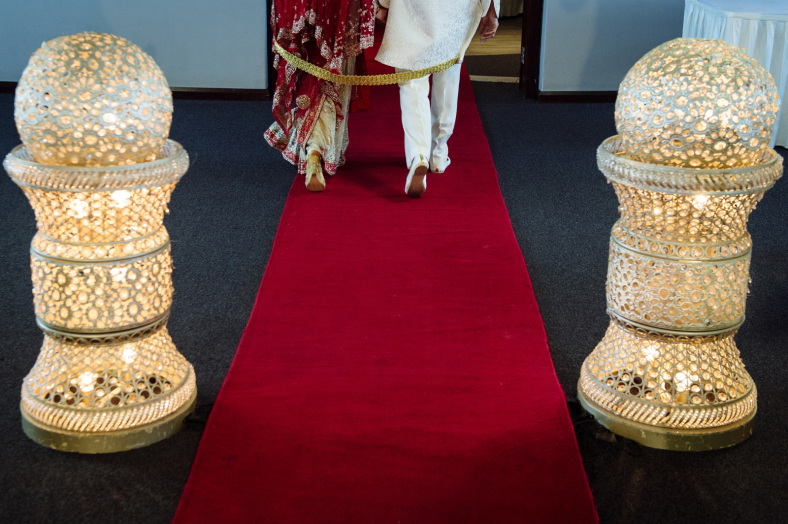 Hindu Bride and Groom exit