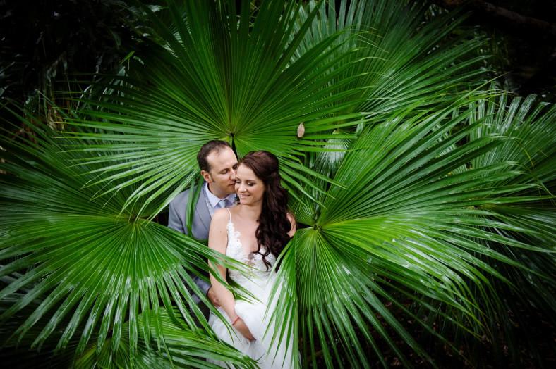 bride and groom in leaves