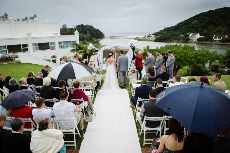 Rainy beach wedding